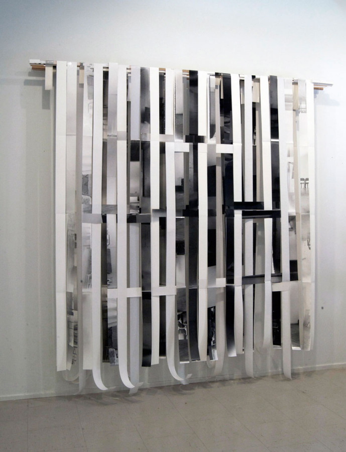 "Interval #6, 2010, 96""w X 96"" h X 12""d; paper, vellum, fiber based photographs, wood, metal."